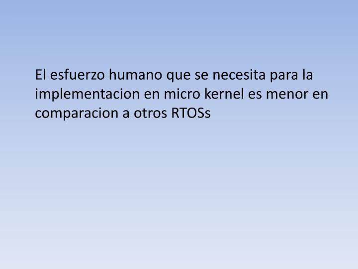 El esfuerzo humano que se necesita para la implementacion en micro kernel es menor en comparacion a otros RTOSs