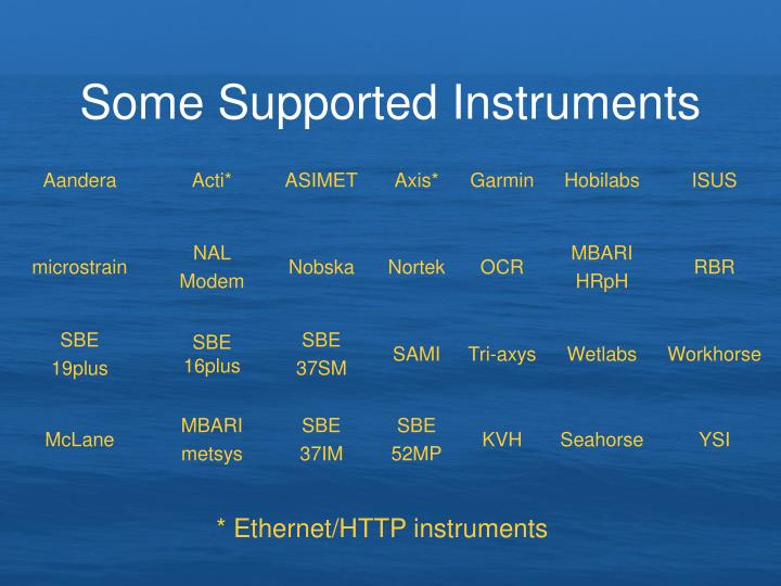 Some Supported Instruments