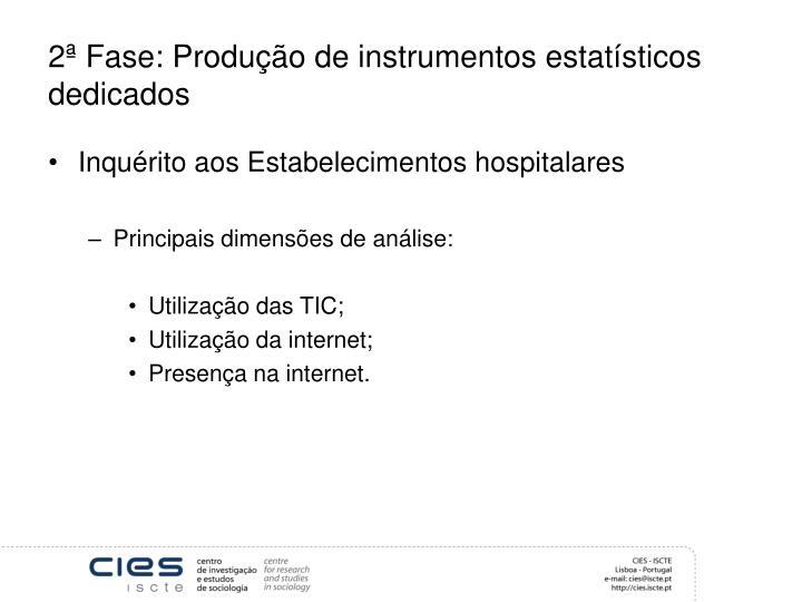 2ª Fase: Produção de instrumentos estatísticos dedicados