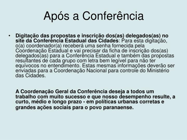 Após a Conferência