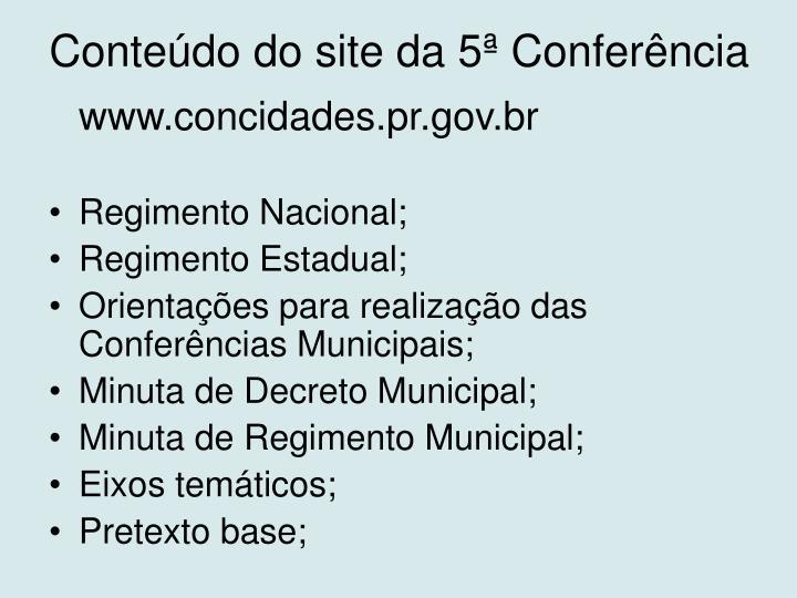 Conteúdo do site da 5ª Conferência