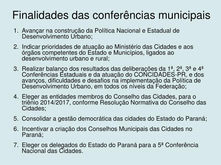 Finalidades das conferências municipais
