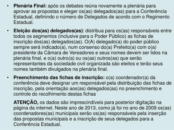 Plenária Final: