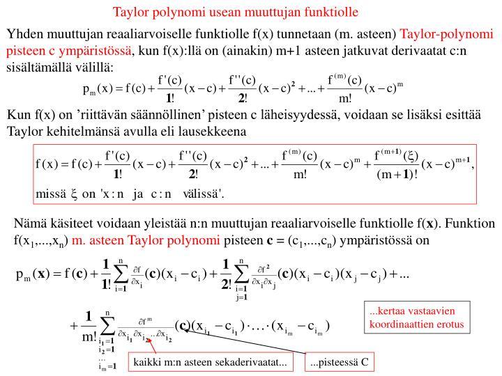 Taylor polynomi usean muuttujan funktiolle