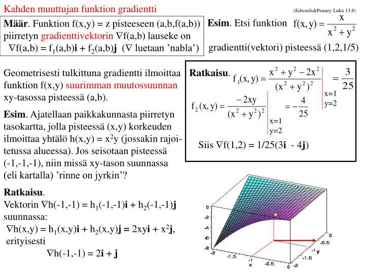 Kahden muuttujan funktion gradientti