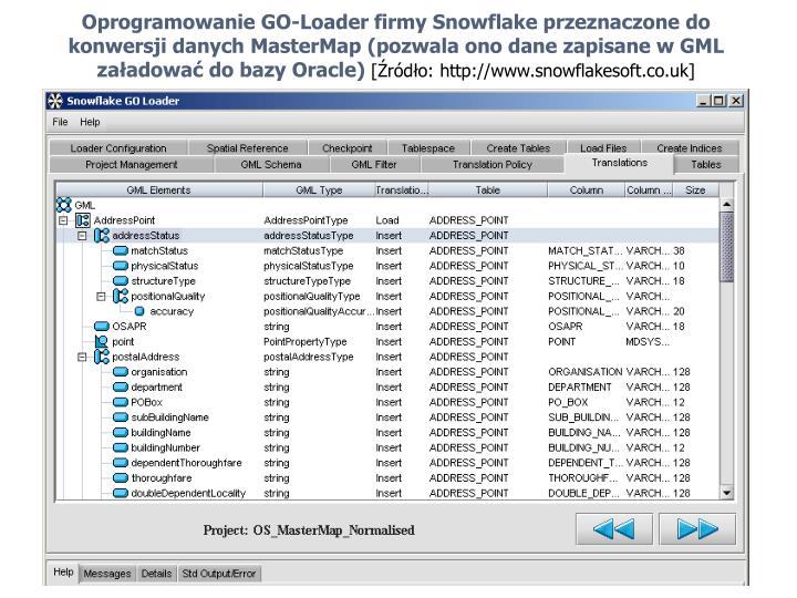 Oprogramowanie GO-Loader firmy Snowflake przeznaczone do  konwersji danych MasterMap (pozwala ono dane zapisane w GML załadować do bazy Oracle)