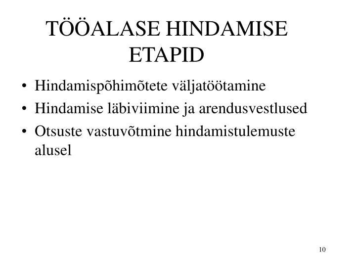 TÖÖALASE HINDAMISE ETAPID