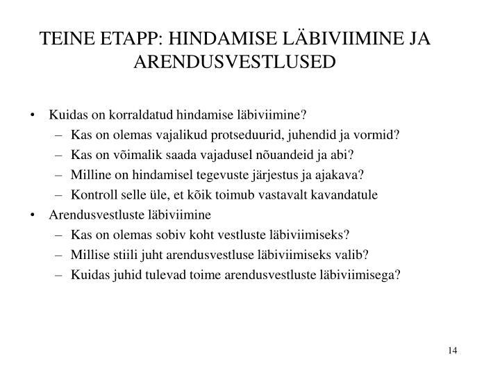 TEINE ETAPP: HINDAMISE LÄBIVIIMINE JA ARENDUSVESTLUSED