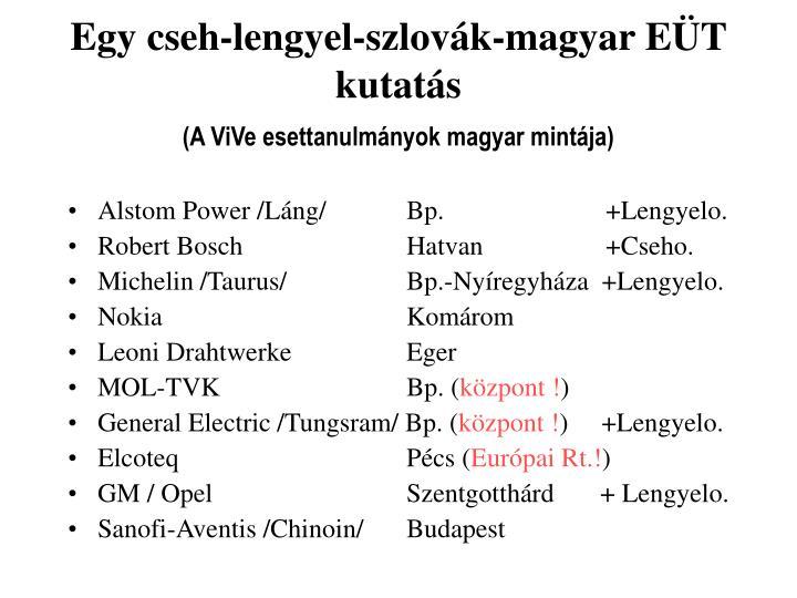 Egy cseh-lengyel-szlovák-magyar EÜT kutatás