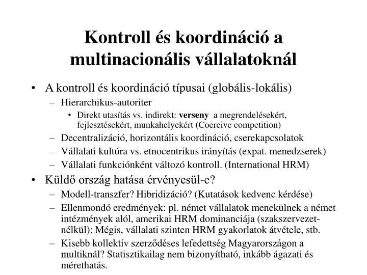 Kontroll és koordináció a multinacionális vállalatoknál