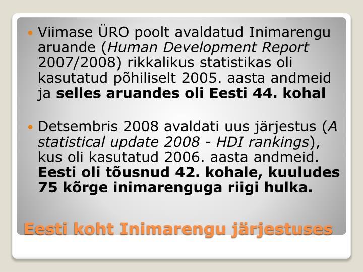Viimase ÜRO poolt avaldatud Inimarengu aruande (