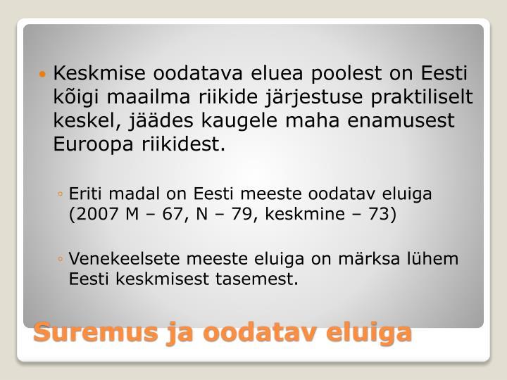 Keskmise oodatava eluea poolest on Eesti kõigi maailma riikide järjestuse praktiliselt keskel, jäädes kaugele maha enamusest Euroopa riikidest.