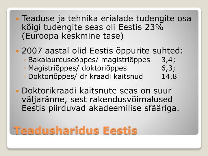 Teaduse ja tehnika erialade tudengite osa kõigi tudengite seas oli Eestis 23% (Euroopa keskmine tase)