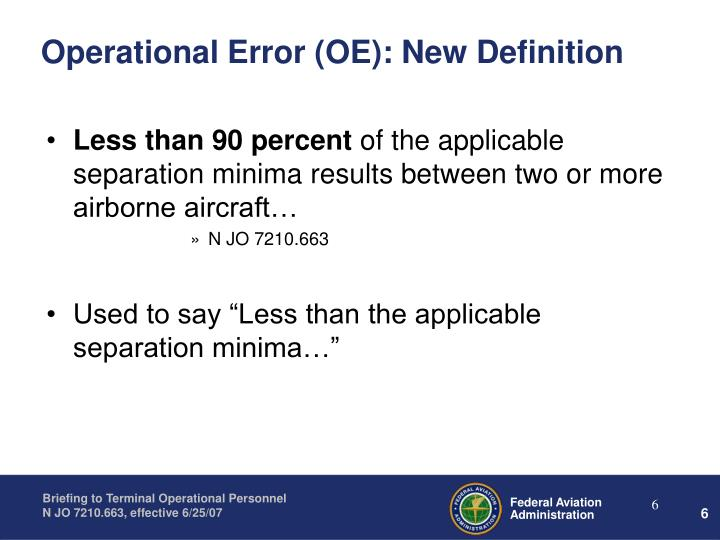 Operational Error (OE): New Definition