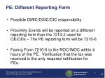 pe different reporting form
