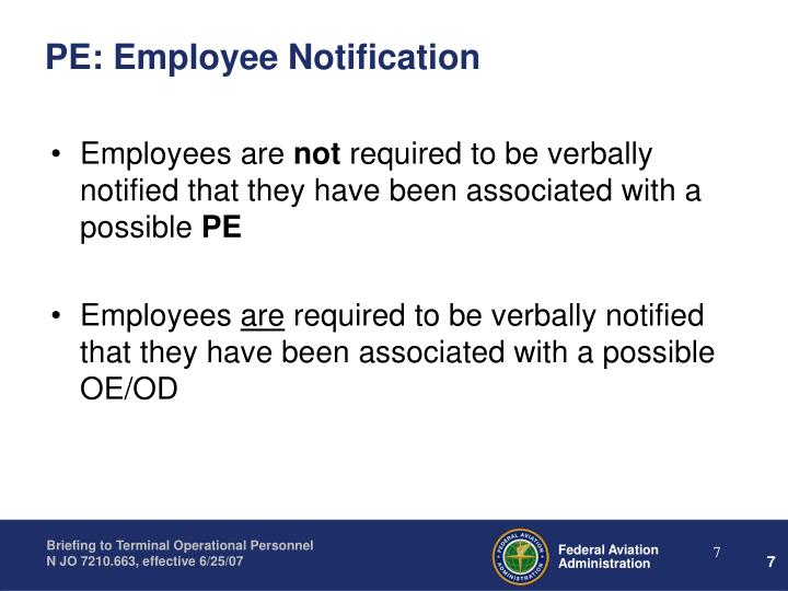 PE: Employee Notification