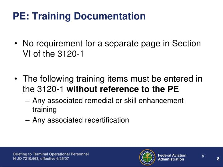 PE: Training Documentation