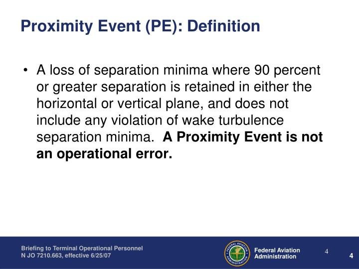 Proximity Event (PE): Definition