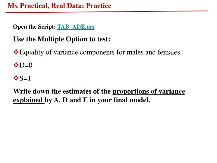 Mx Practical, Real Data: Practice