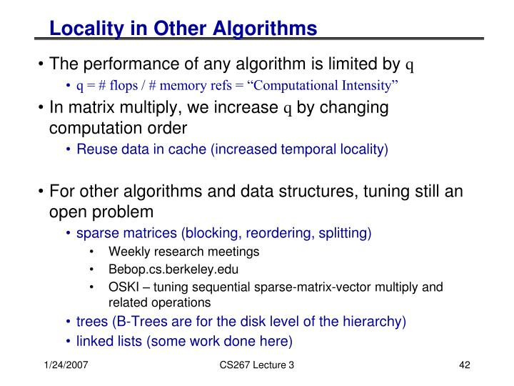 Locality in Other Algorithms