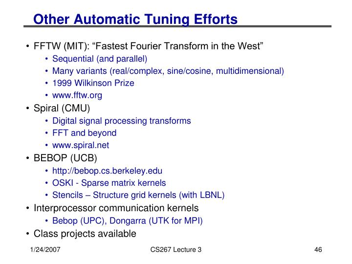Other Automatic Tuning Efforts