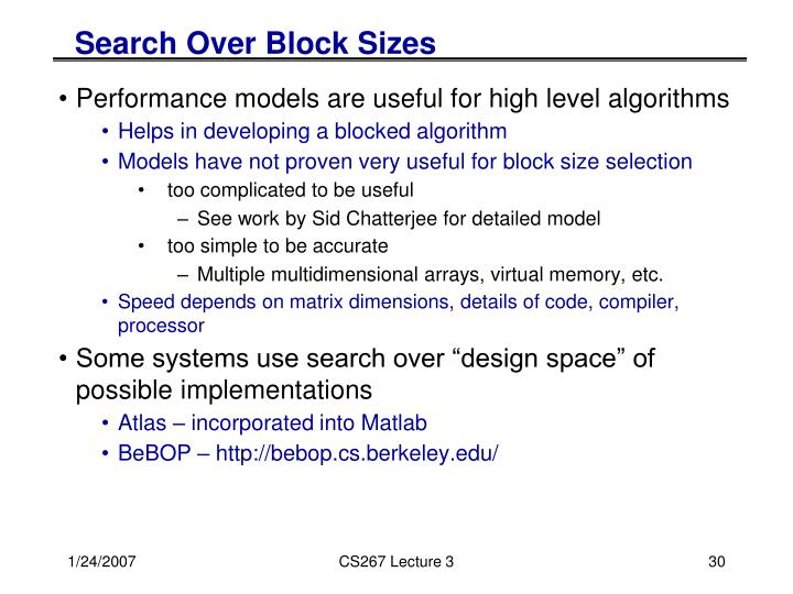 Search Over Block Sizes