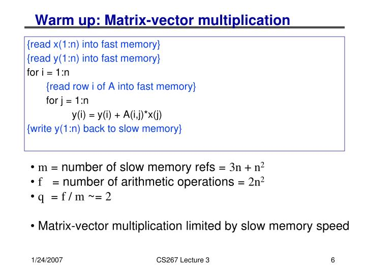 Warm up: Matrix-vector multiplication