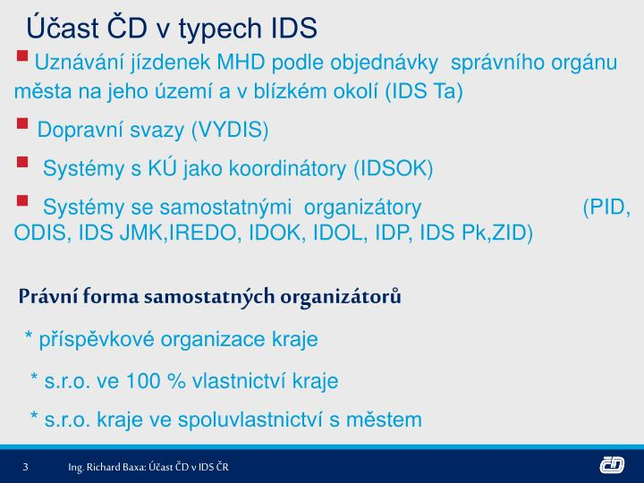 Účast ČD v typech IDS