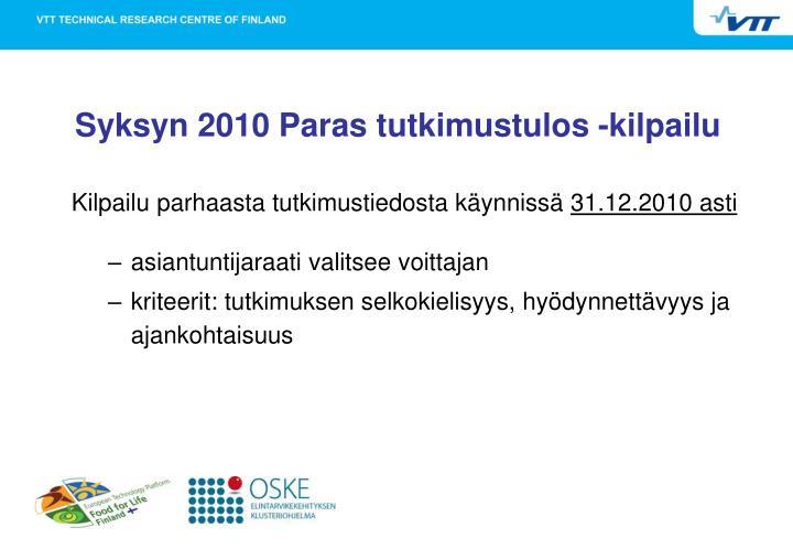Syksyn 2010 Paras tutkimustulos -kilpailu