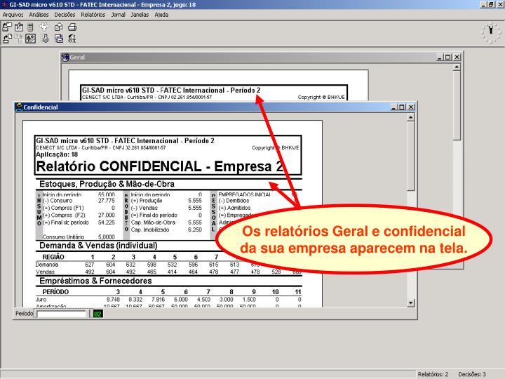 Os relatórios Geral e confidencial