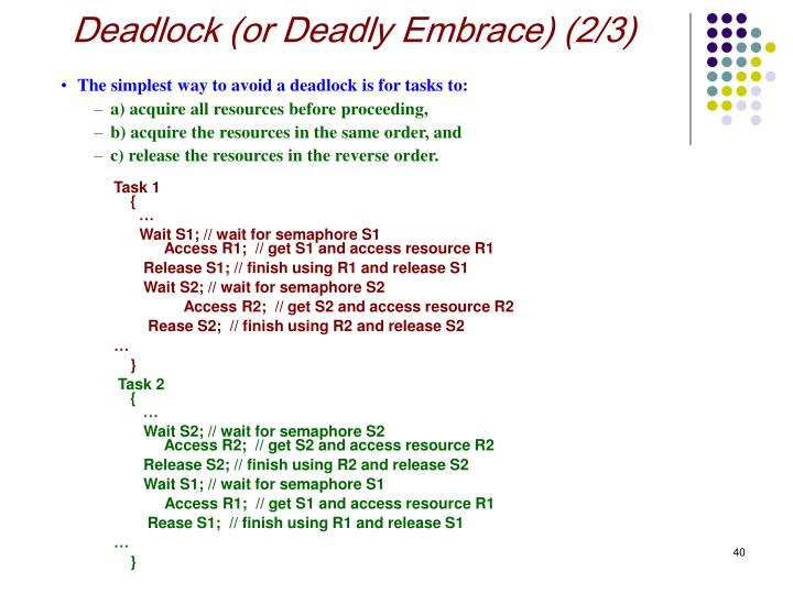 Deadlock (or Deadly Embrace) (2/3)