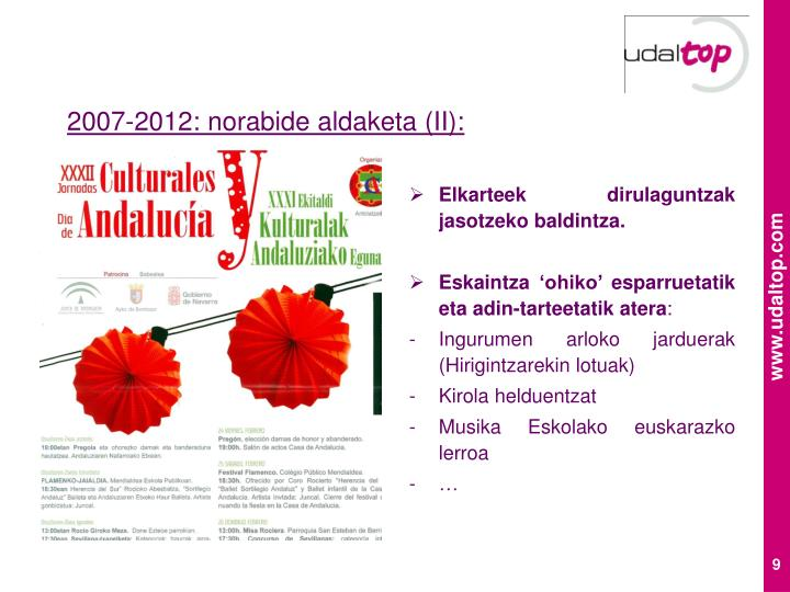 2007-2012: norabide aldaketa (II):