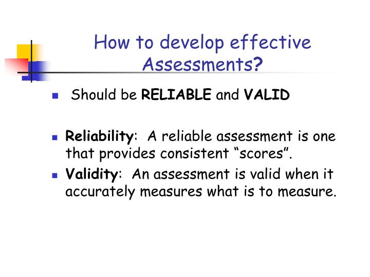 How to develop effective Assessments