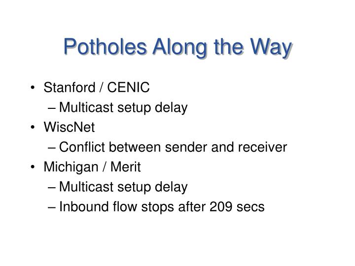 Potholes Along the Way