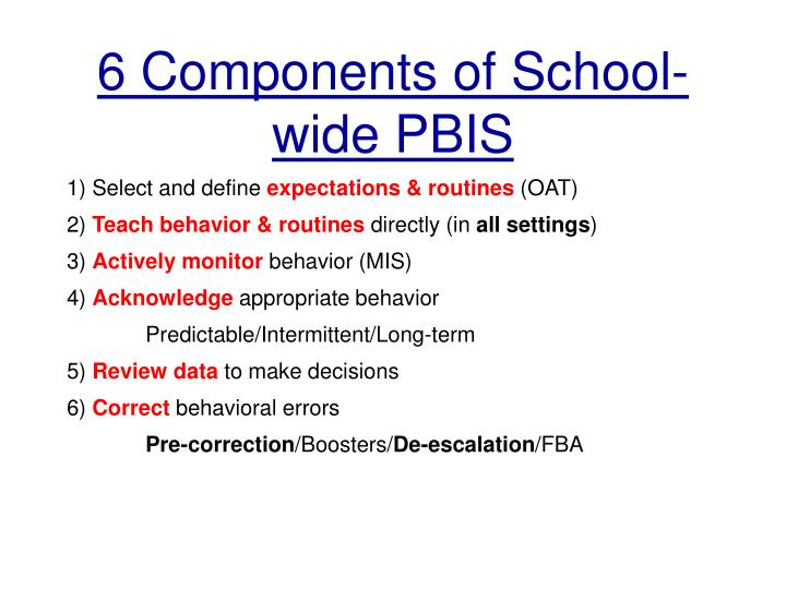6 Components of School-wide PBIS
