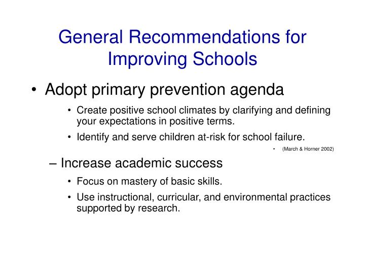 General Recommendations for Improving Schools