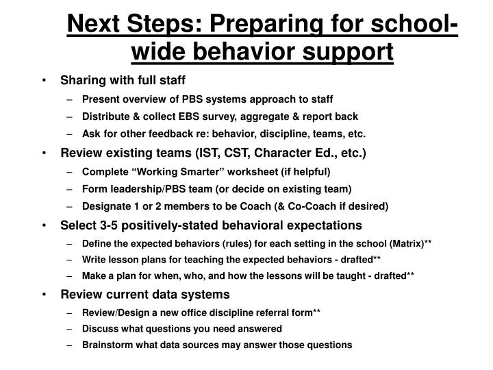 Next Steps: Preparing for school-wide behavior support