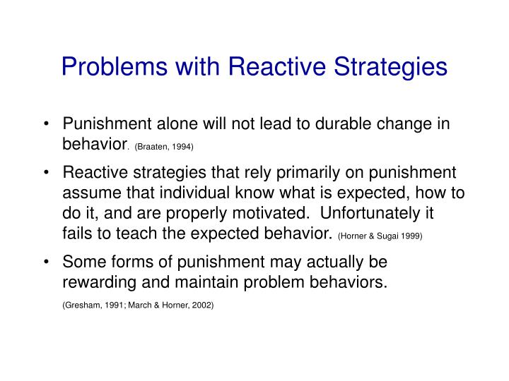 Problems with Reactive Strategies