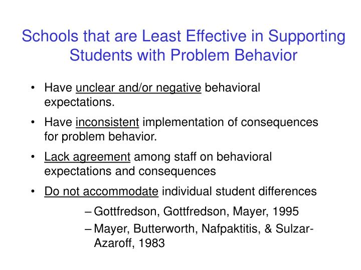 Schools that are Least Effective in Supporting Students with Problem Behavior