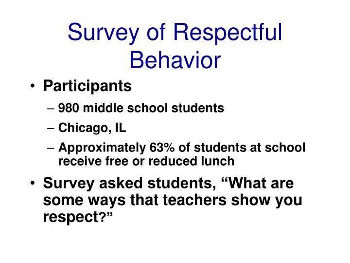 Survey of Respectful Behavior