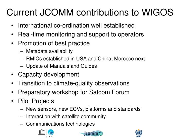 Current JCOMM contributions to WIGOS