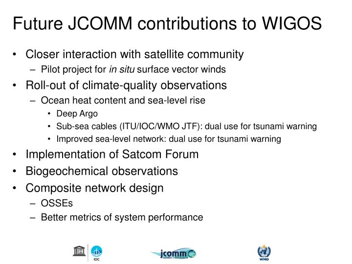 Future JCOMM contributions to WIGOS