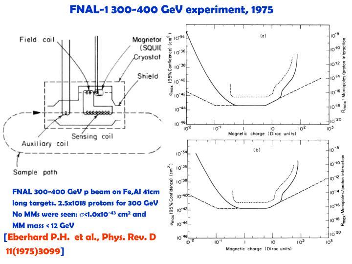 FNAL-1 300-400 GeV experiment, 1975