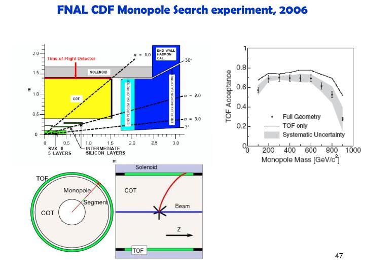 FNAL CDF Monopole Search experiment, 2006