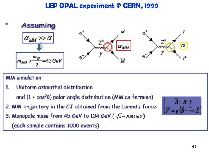 LEP OPAL experiment @ CERN, 1999