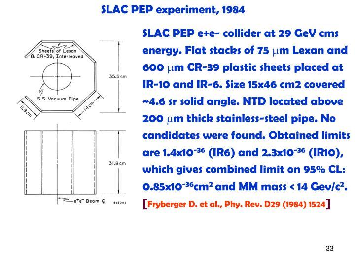 SLAC PEP experiment, 1984