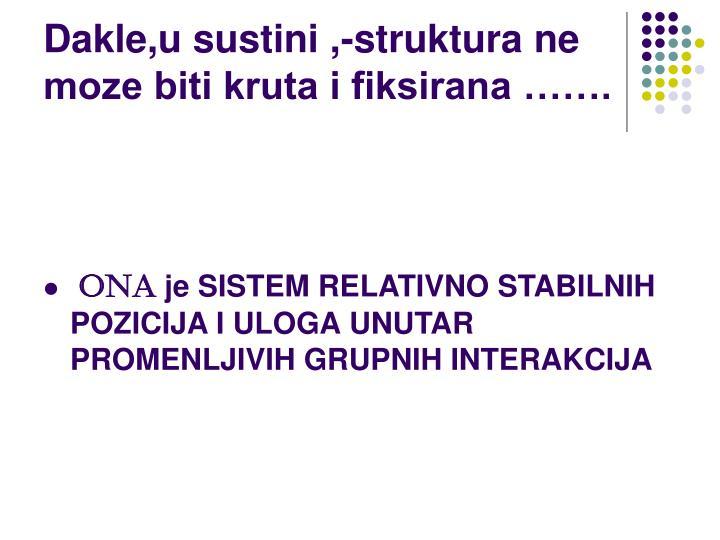 Dakle,u sustini ,-struktura ne moze biti kruta i fiksirana …….