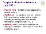 grupna kultura ima tri nivoa levi 2001