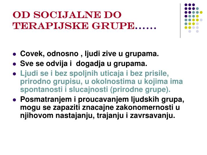 Od socijalne do terapijske grupe