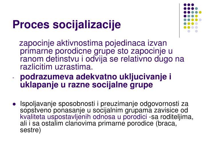 Proces socijalizacije